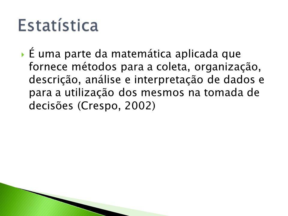 É uma parte da matemática aplicada que fornece métodos para a coleta, organização, descrição, análise e interpretação de dados e para a utilização dos
