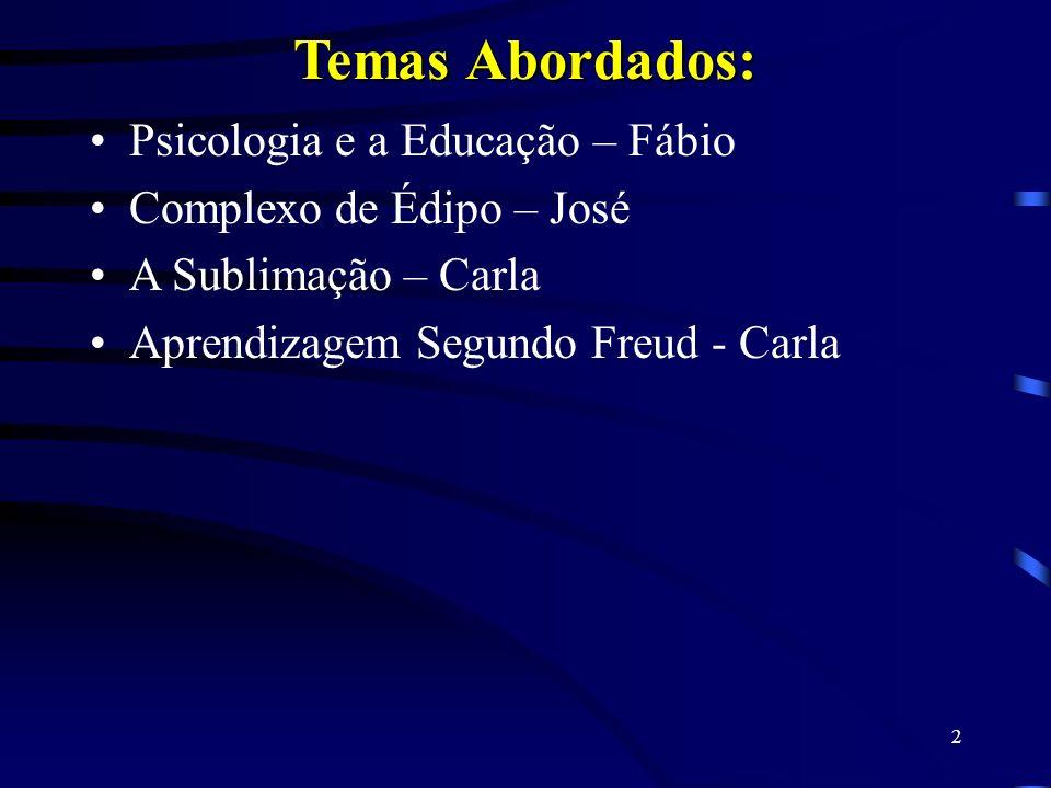 2 Temas Abordados: Psicologia e a Educação – Fábio Complexo de Édipo – José A Sublimação – Carla Aprendizagem Segundo Freud - Carla