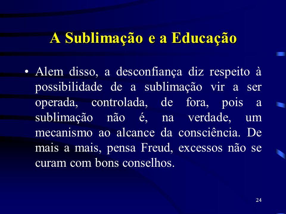 23 Também a civilização, pela via da Educação, exagera, e produz efeitos semelhantes aos que podem ser produzidos pelo eu – a neurose. Portanto, concl
