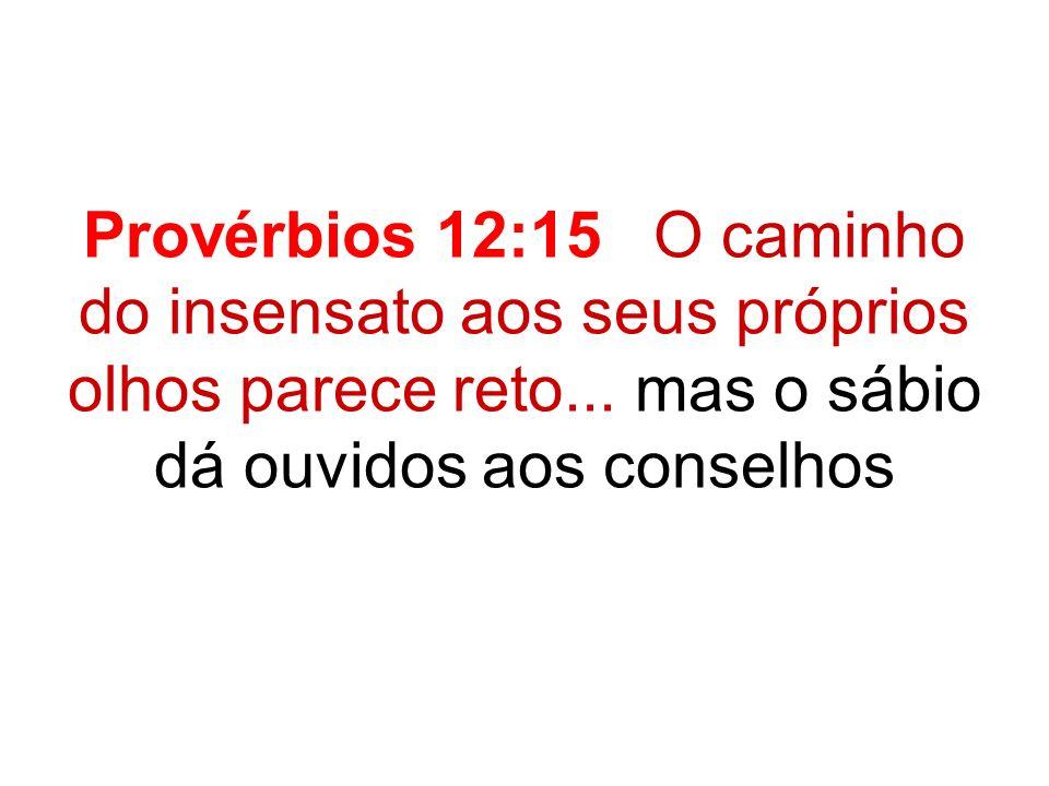 Provérbios 12:15 O caminho do insensato aos seus próprios olhos parece reto... mas o sábio dá ouvidos aos conselhos