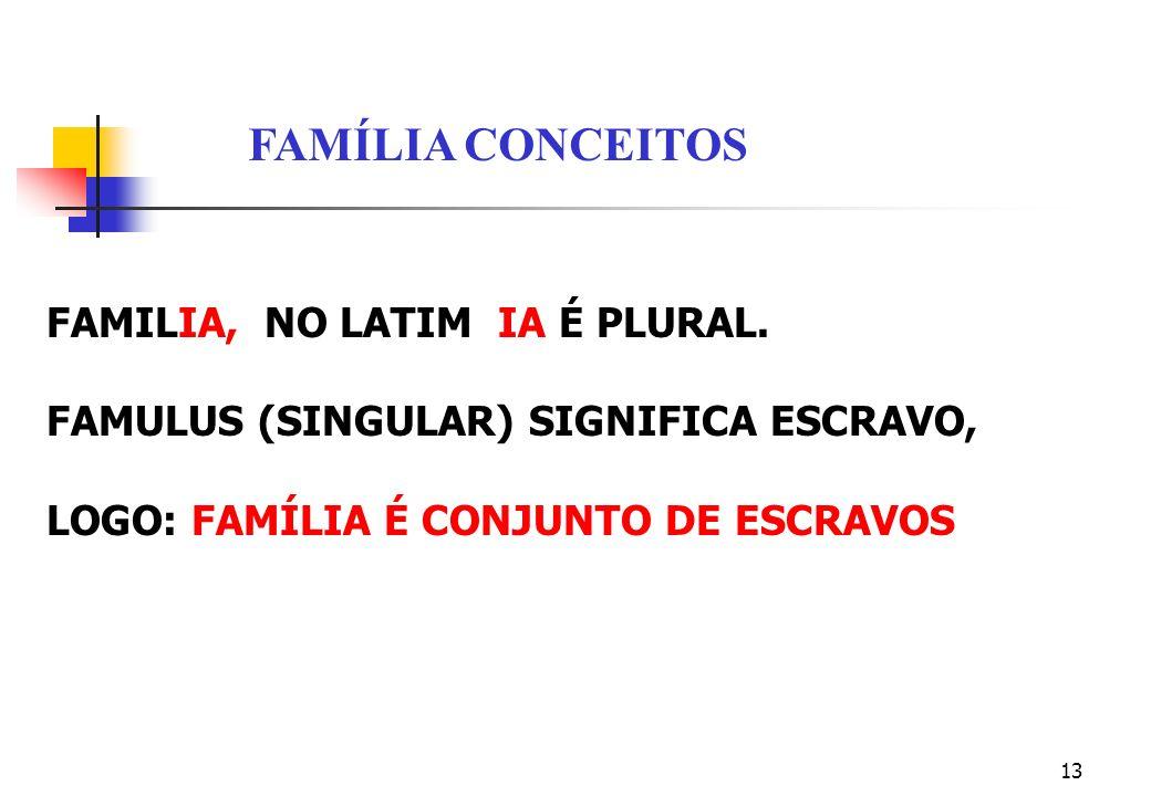 13 FAMILIA, NO LATIM IA É PLURAL. FAMULUS (SINGULAR) SIGNIFICA ESCRAVO, LOGO: FAMÍLIA É CONJUNTO DE ESCRAVOS FAMÍLIA CONCEITOS
