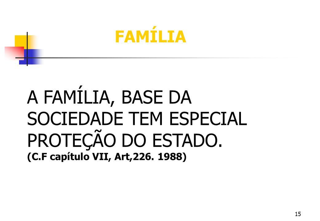 15 A FAMÍLIA, BASE DA SOCIEDADE TEM ESPECIAL PROTEÇÃO DO ESTADO. (C.F capítulo VII, Art,226. 1988) FAMÍLIA