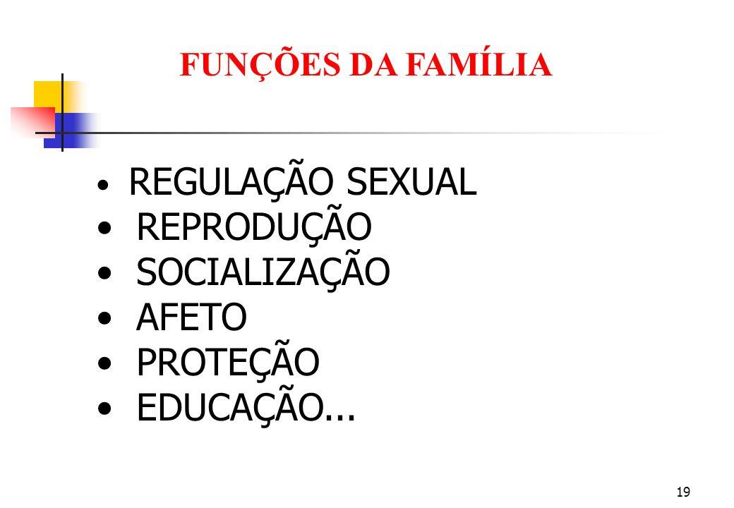 19 REGULAÇÃO SEXUAL REPRODUÇÃO SOCIALIZAÇÃO AFETO PROTEÇÃO EDUCAÇÃO... FUNÇÕES DA FAMÍLIA