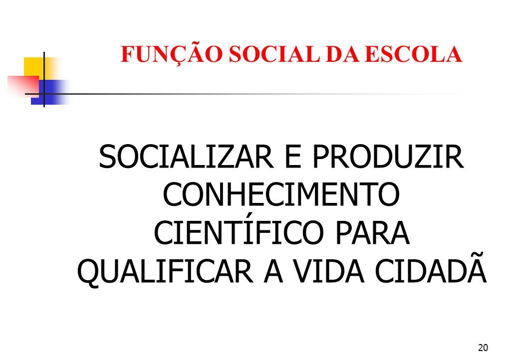 20 FUNÇÃO SOCIAL DA ESCOLA SOCIALIZAR E PRODUZIR CONHECIMENTO CIENTÍFICO PARA QUALIFICAR A VIDA CIDADÃ