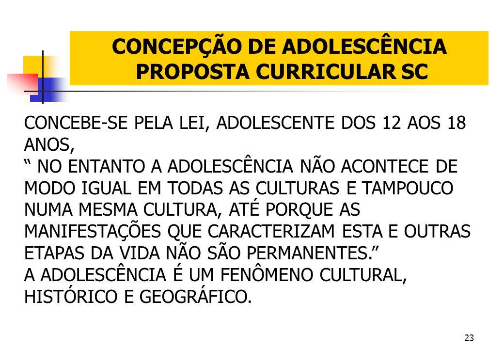 23 CONCEPÇÃO DE ADOLESCÊNCIA PROPOSTA CURRICULAR SC CONCEBE-SE PELA LEI, ADOLESCENTE DOS 12 AOS 18 ANOS, NO ENTANTO A ADOLESCÊNCIA NÃO ACONTECE DE MOD