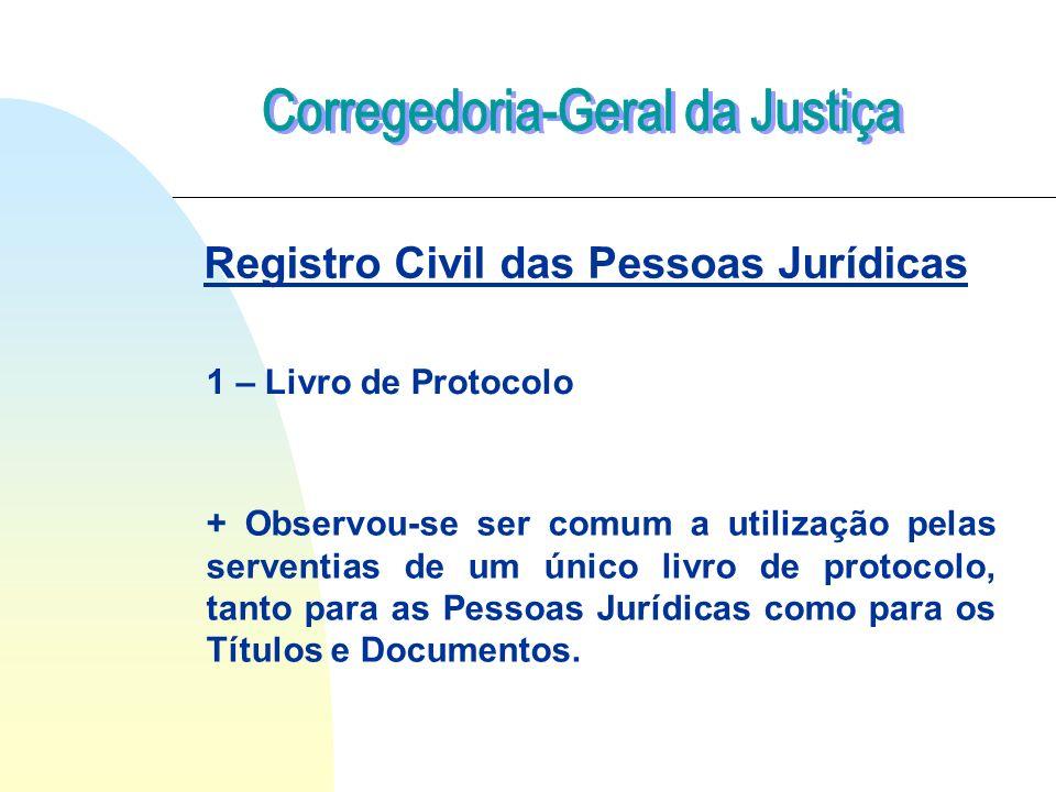 1 – Livro de Protocolo + Observou-se ser comum a utilização pelas serventias de um único livro de protocolo, tanto para as Pessoas Jurídicas como para os Títulos e Documentos.
