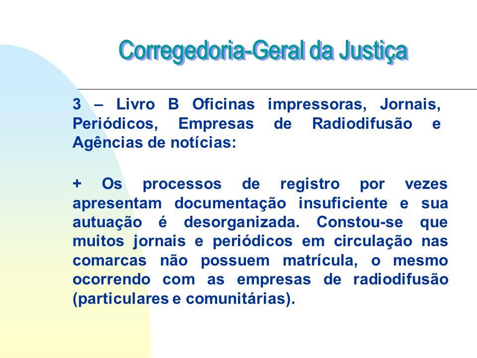 3 – Livro B Oficinas impressoras, Jornais, Periódicos, Empresas de Radiodifusão e Agências de notícias: + Os processos de registro por vezes apresenta