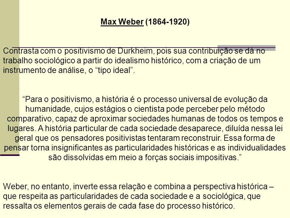 Max Weber (1864-1920) Contrasta com o positivismo de Durkheim, pois sua contribuição se dá no trabalho sociológico a partir do idealismo histórico, com a criação de um instrumento de análise, o tipo ideal.