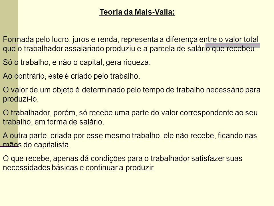 Teoria da Mais-Valia: Formada pelo lucro, juros e renda, representa a diferença entre o valor total que o trabalhador assalariado produziu e a parcela de salário que recebeu.