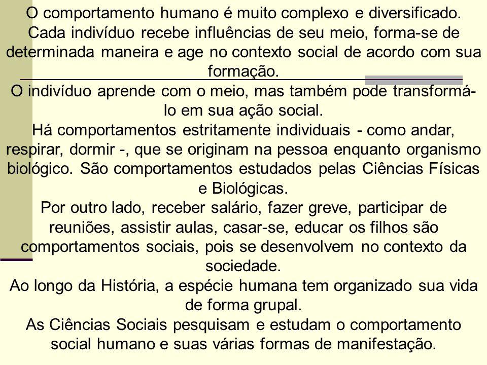 O comportamento humano é muito complexo e diversificado.