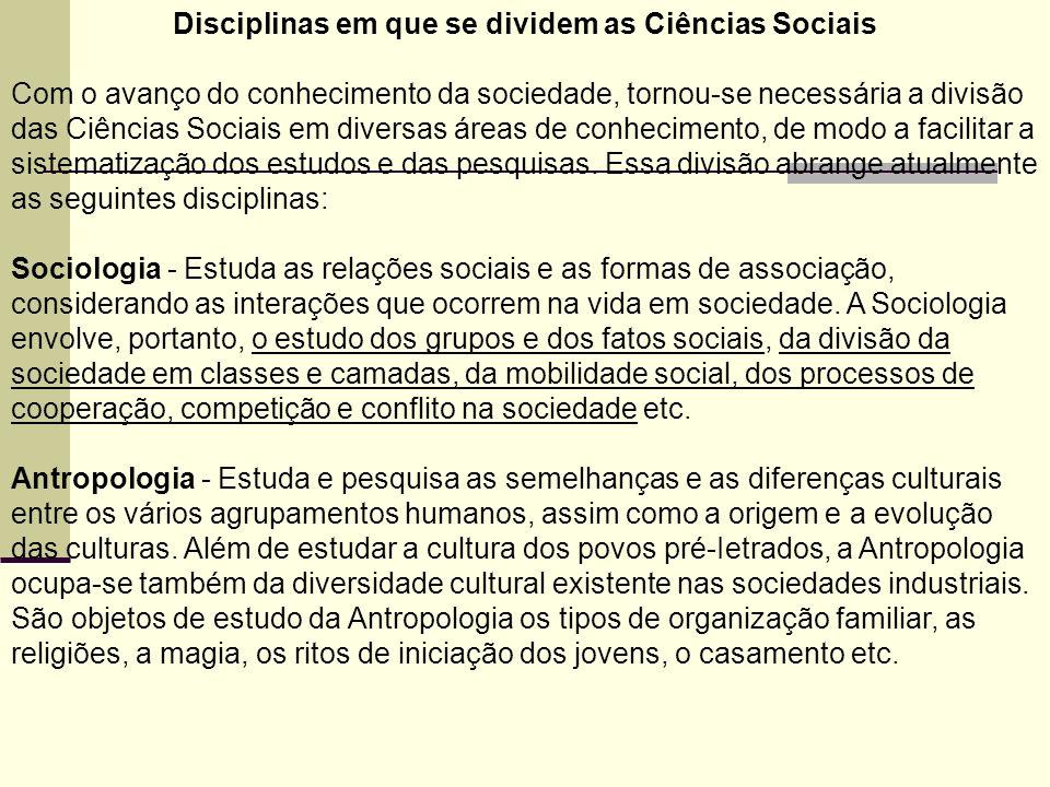 Disciplinas em que se dividem as Ciências Sociais Com o avanço do conhecimento da sociedade, tornou-se necessária a divisão das Ciências Sociais em diversas áreas de conhecimento, de modo a facilitar a sistematização dos estudos e das pesquisas.