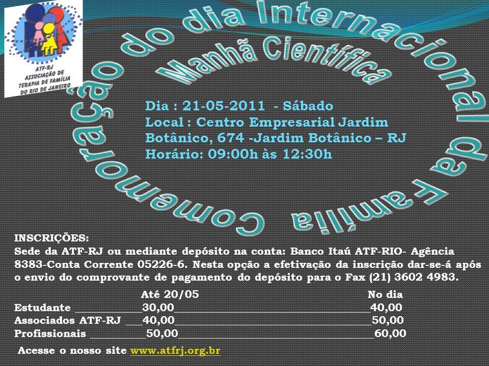 INSCRIÇÕES: Sede da ATF-RJ ou mediante depósito na conta: Banco Itaú ATF-RIO- Agência 8383-Conta Corrente 05226-6. Nesta opção a efetivação da inscriç