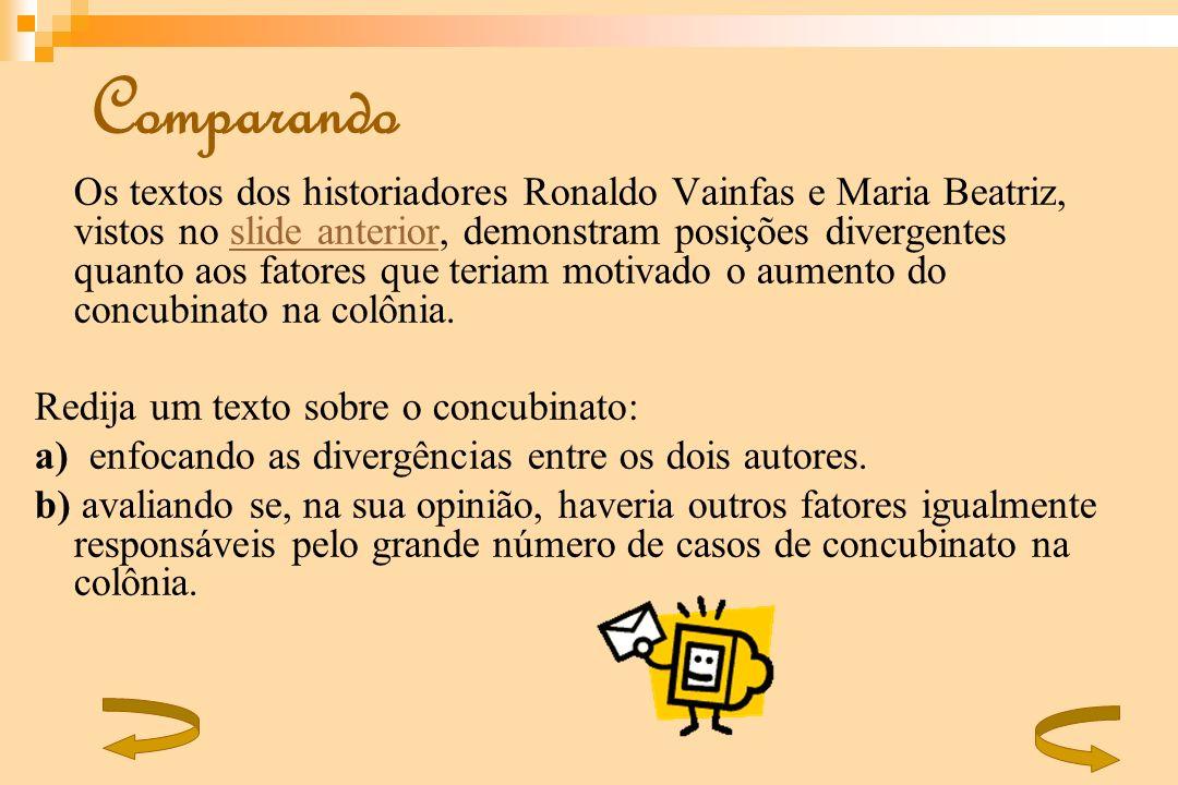 Comparando Os textos dos historiadores Ronaldo Vainfas e Maria Beatriz, vistos no slide anterior, demonstram posições divergentes quanto aos fatores q
