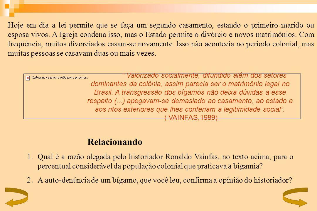 Relacionando 1.Qual é a razão alegada pelo historiador Ronaldo Vainfas, no texto acima, para o percentual considerável da população colonial que prati