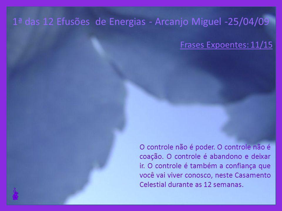 1ª das 12 Efusões de Energias - Arcanjo Miguel -25/04/09 O poder espiritual exige a total eliminação de qualquer vestígio de você em qualquer poder hu