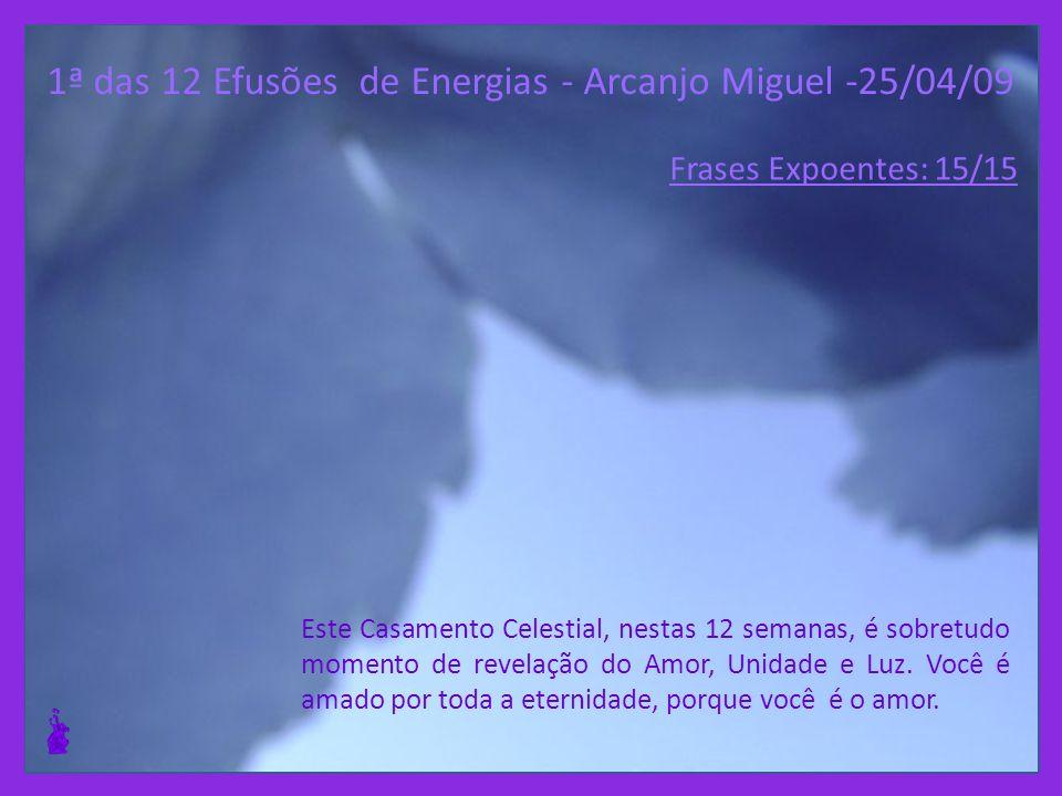 1ª das 12 Efusões de Energias - Arcanjo Miguel -25/04/09 Vocês se tornarão semeadores de Luz, que beberão o cálice até o fim, no sentido de que possam