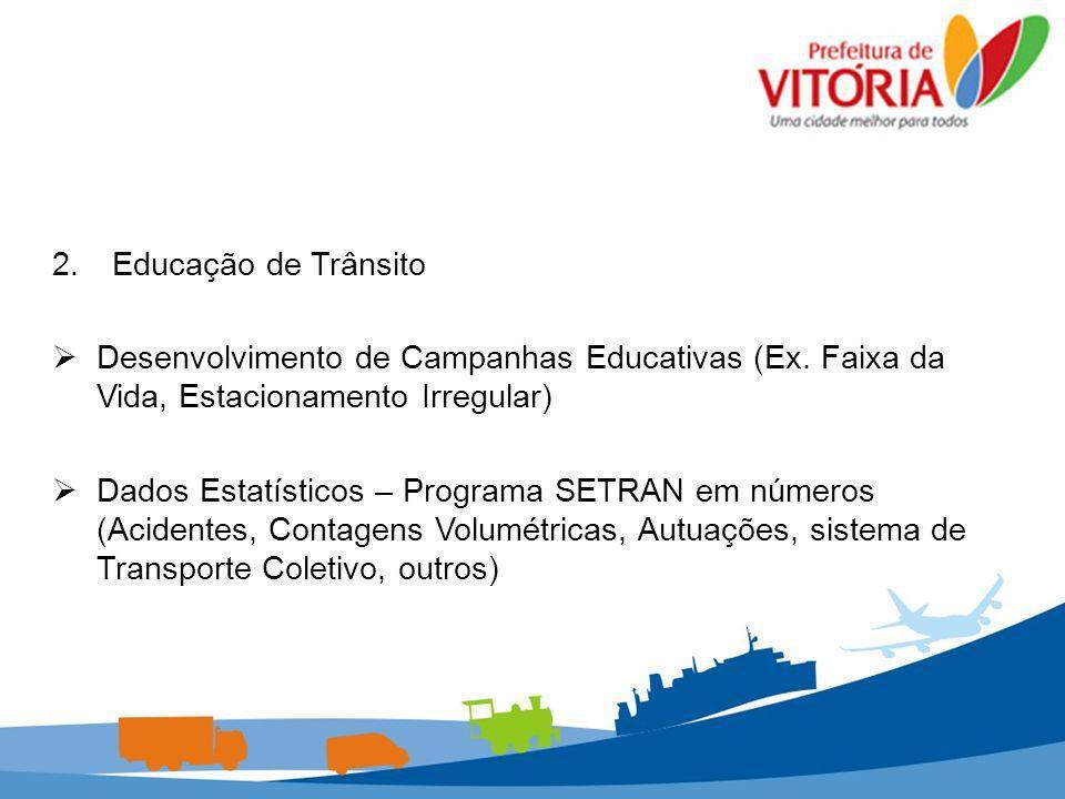 2.Educação de Trânsito Desenvolvimento de Campanhas Educativas (Ex. Faixa da Vida, Estacionamento Irregular) Desenvolvimento de Campanhas Educativas (