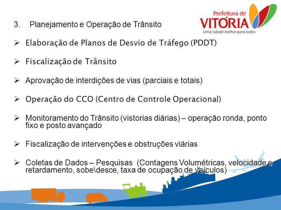 3.Planejamento e Operação de Trânsito Elaboração de Planos de Desvio de Tráfego (PDDT) Elaboração de Planos de Desvio de Tráfego (PDDT) Fiscalização d