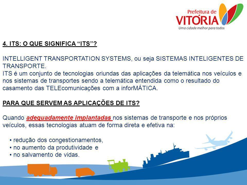 Sistemas de ITS utilizados e em desenvolvimento: Central de Controle Semafórico Monitoramento e Programação de Semáforos em Tempo Real Sistema de CFTV Monitoramento remoto da frota de transporte coletivo Sistema de informação ao usuário on line