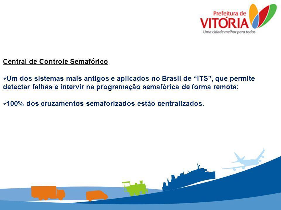Central de Controle Semafórico Um dos sistemas mais antigos e aplicados no Brasil de ITS, que permite detectar falhas e intervir na programação semafó