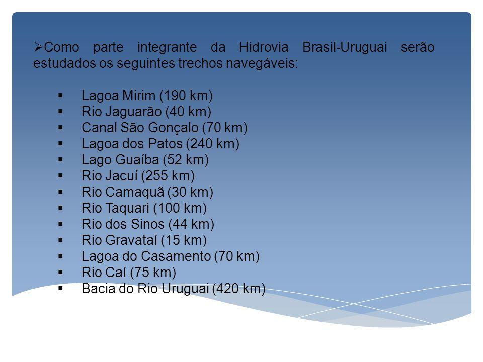 Como parte integrante da Hidrovia Brasil-Uruguai serão estudados os seguintes trechos navegáveis: Lagoa Mirim (190 km) Rio Jaguarão (40 km) Canal São