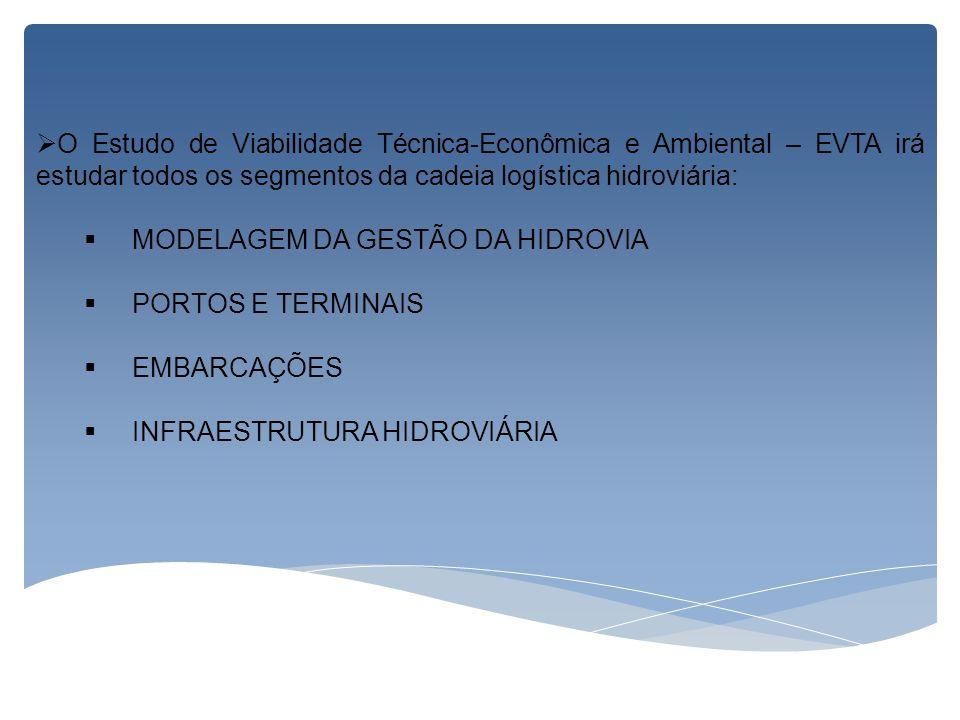 O Estudo de Viabilidade Técnica-Econômica e Ambiental – EVTA irá estudar todos os segmentos da cadeia logística hidroviária: MODELAGEM DA GESTÃO DA HI