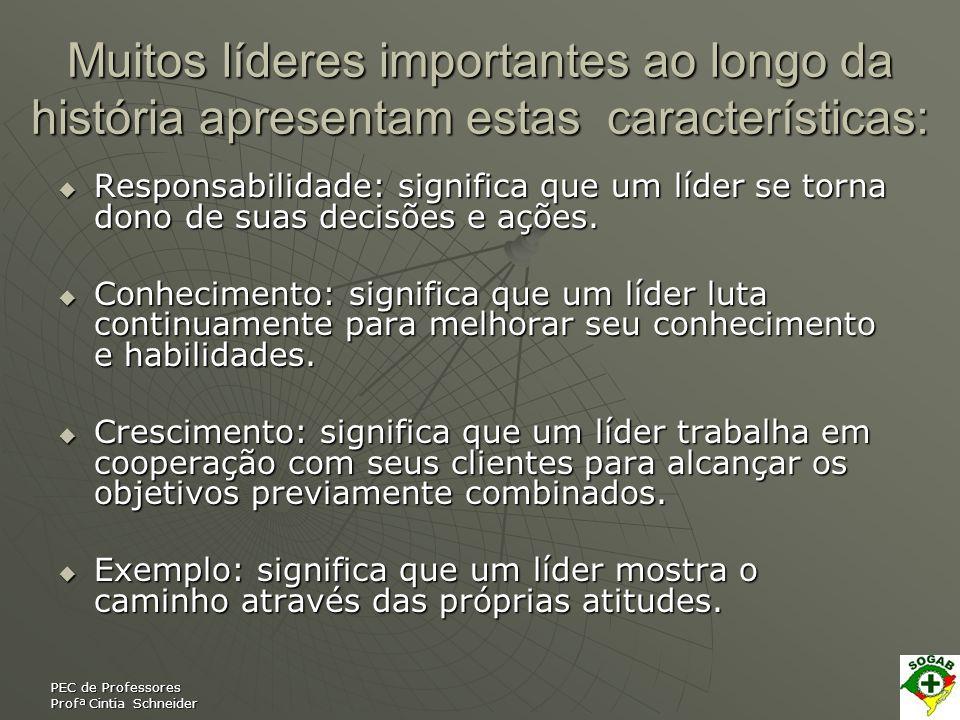 PEC de Professores Profª Cintia Schneider Muitos líderes importantes ao longo da história apresentam estas características: Responsabilidade: signific