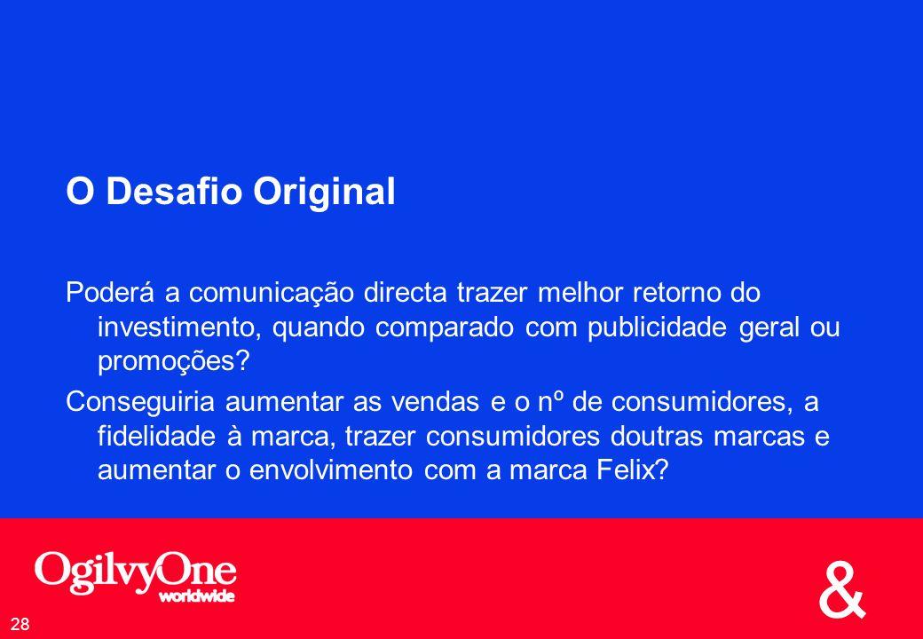 & 28 O Desafio Original Poderá a comunicação directa trazer melhor retorno do investimento, quando comparado com publicidade geral ou promoções.