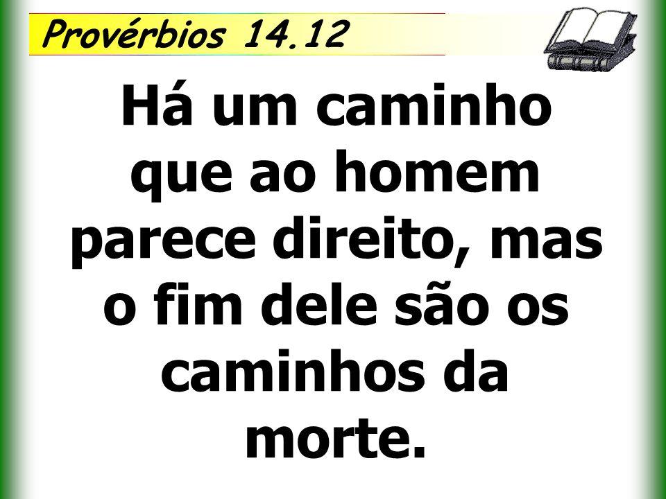 Provérbios 14.12 Há um caminho que ao homem parece direito, mas o fim dele são os caminhos da morte.