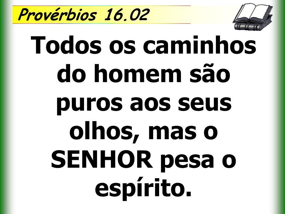 Provérbios 16.02 Todos os caminhos do homem são puros aos seus olhos, mas o SENHOR pesa o espírito.