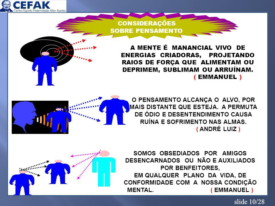 slide 10/28 CONSIDERAÇÕES SOBRE PENSAMENTO A MENTE É MANANCIAL VIVO DE ENERGIAS CRIADORAS, PROJETANDO RAIOS DE FORÇA QUE ALIMENTAM OU DEPRIMEM, SUBLIM