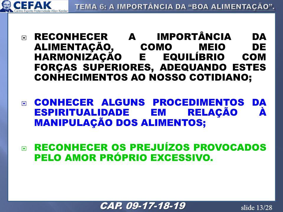 slide 13/28 RECONHECER A IMPORTÂNCIA DA ALIMENTAÇÃO, COMO MEIO DE HARMONIZAÇÃO E EQUILÍBRIO COM FORÇAS SUPERIORES, ADEQUANDO ESTES CONHECIMENTOS AO NO