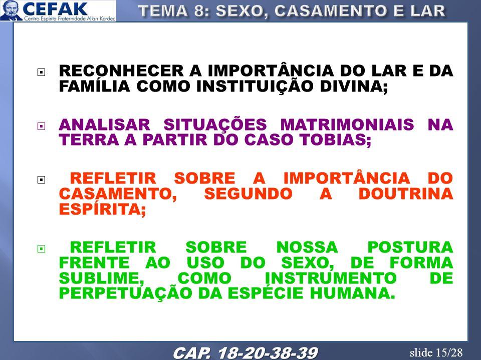 slide 15/28 RECONHECER A IMPORTÂNCIA DO LAR E DA FAMÍLIA COMO INSTITUIÇÃO DIVINA; ANALISAR SITUAÇÕES MATRIMONIAIS NA TERRA A PARTIR DO CASO TOBIAS; RE
