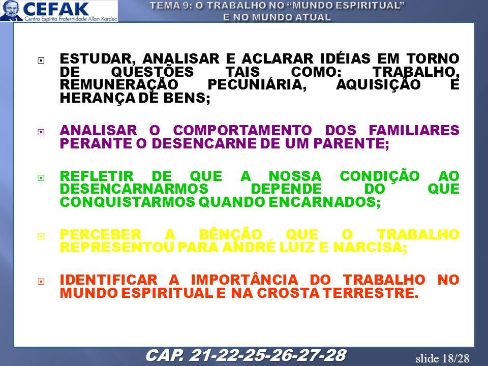 slide 18/28 ESTUDAR, ANALISAR E ACLARAR IDÉIAS EM TORNO DE QUESTÕES TAIS COMO: TRABALHO, REMUNERAÇÃO PECUNIÁRIA, AQUISIÇÃO E HERANÇA DE BENS; ANALISAR