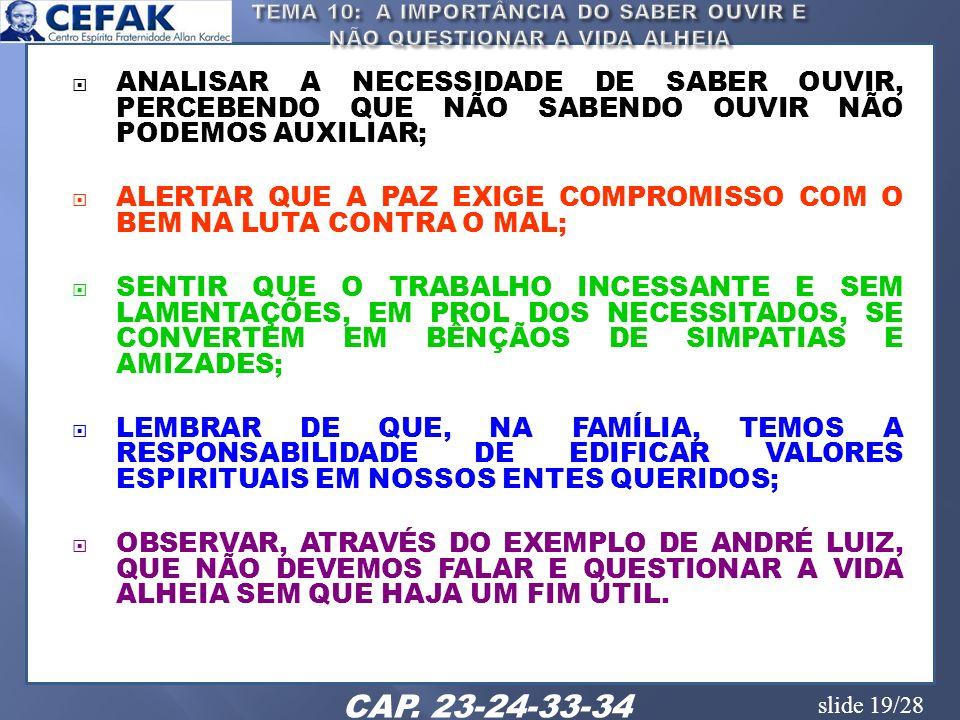 slide 19/28 ANALISAR A NECESSIDADE DE SABER OUVIR, PERCEBENDO QUE NÃO SABENDO OUVIR NÃO PODEMOS AUXILIAR; ALERTAR QUE A PAZ EXIGE COMPROMISSO COM O BE