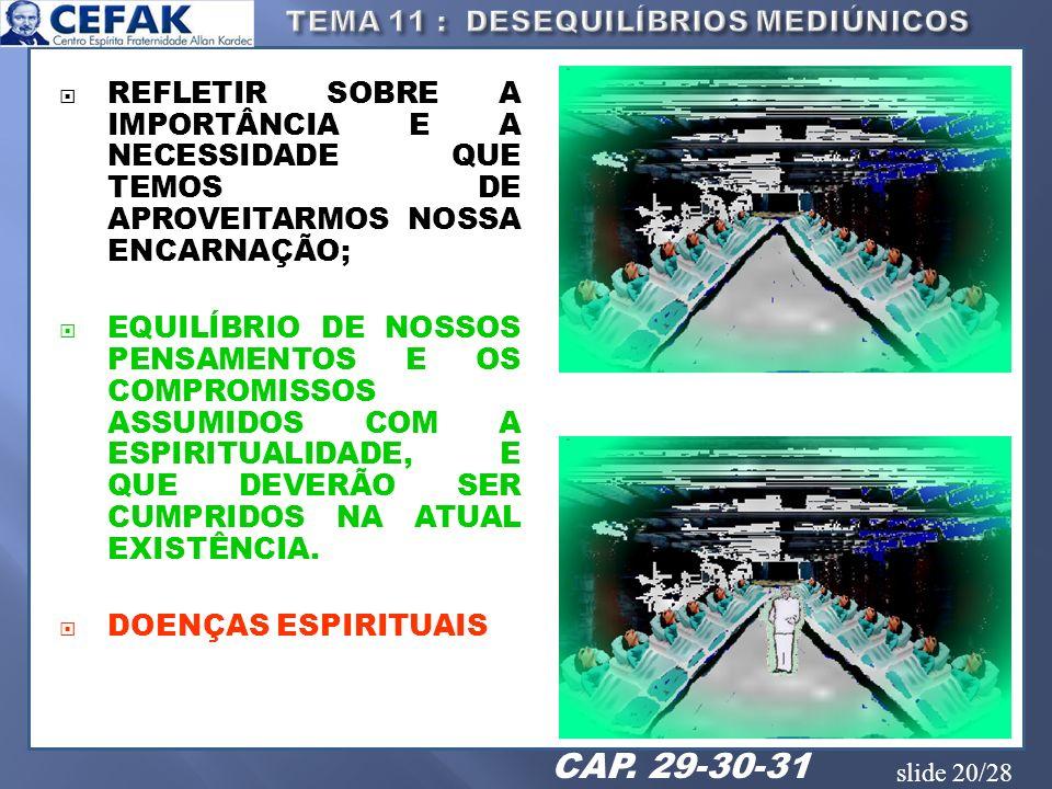 slide 20/28 REFLETIR SOBRE A IMPORTÂNCIA E A NECESSIDADE QUE TEMOS DE APROVEITARMOS NOSSA ENCARNAÇÃO; EQUILÍBRIO DE NOSSOS PENSAMENTOS E OS COMPROMISS