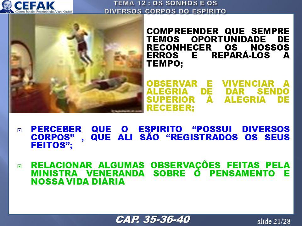 slide 21/28 COMPREENDER QUE SEMPRE TEMOS OPORTUNIDADE DE RECONHECER OS NOSSOS ERROS E REPARÁ-LOS A TEMPO; OBSERVAR E VIVENCIAR A ALEGRIA DE DAR SENDO