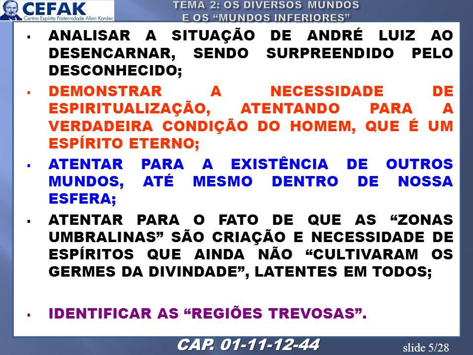 slide 5/28 ANALISAR A SITUAÇÃO DE ANDRÉ LUIZ AO DESENCARNAR, SENDO SURPREENDIDO PELO DESCONHECIDO; DEMONSTRAR A NECESSIDADE DE ESPIRITUALIZAÇÃO, ATENT
