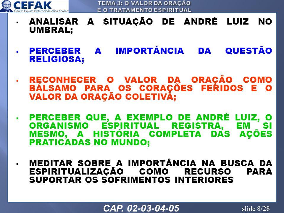 slide 8/28 ANALISAR A SITUAÇÃO DE ANDRÉ LUIZ NO UMBRAL; PERCEBER A IMPORTÂNCIA DA QUESTÃO RELIGIOSA; RECONHECER O VALOR DA ORAÇÃO COMO BÁLSAMO PARA OS