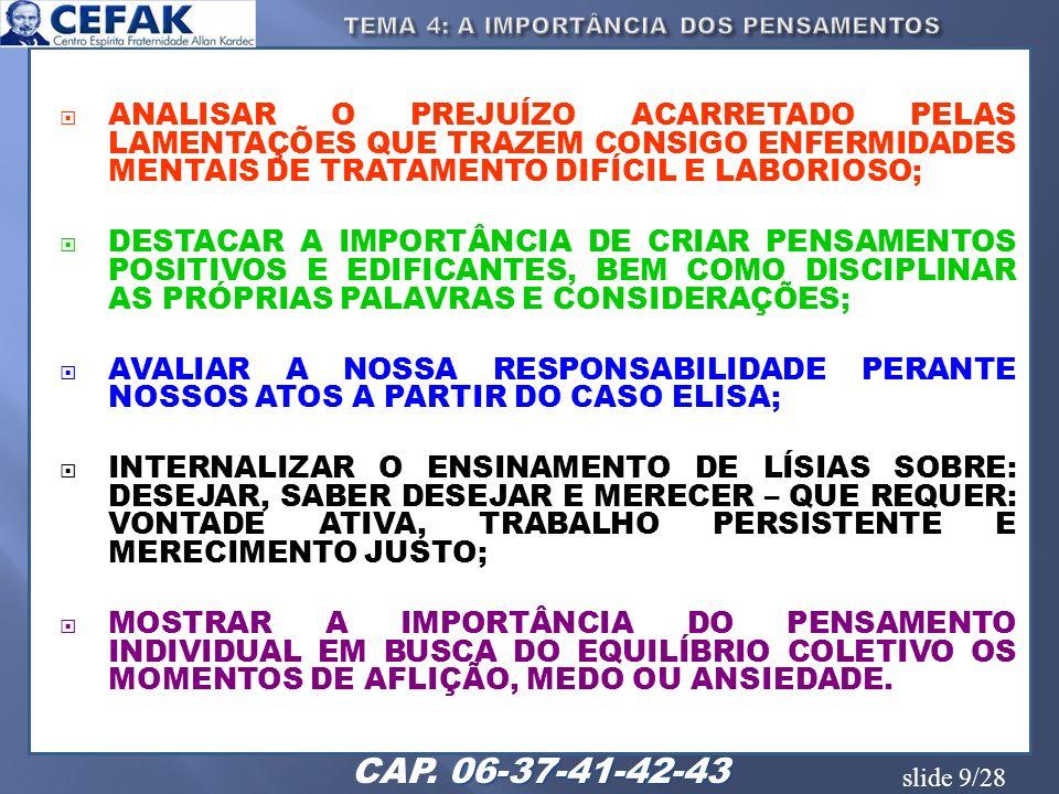 slide 20/28 REFLETIR SOBRE A IMPORTÂNCIA E A NECESSIDADE QUE TEMOS DE APROVEITARMOS NOSSA ENCARNAÇÃO; EQUILÍBRIO DE NOSSOS PENSAMENTOS E OS COMPROMISSOS ASSUMIDOS COM A ESPIRITUALIDADE, E QUE DEVERÃO SER CUMPRIDOS NA ATUAL EXISTÊNCIA.