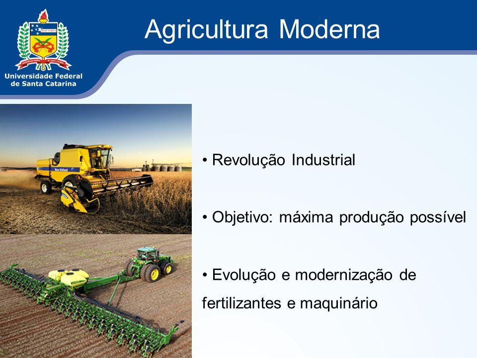 Agricultura Moderna Revolução Industrial Objetivo: máxima produção possível Evolução e modernização de fertilizantes e maquinário