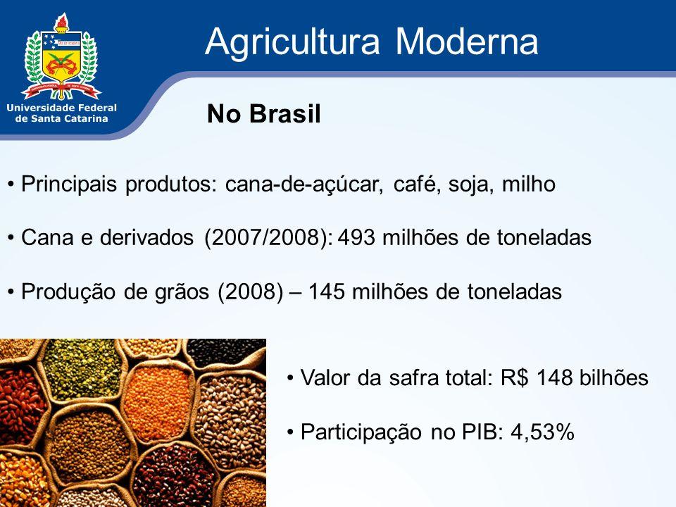 Agricultura Moderna Principais produtos: cana-de-açúcar, café, soja, milho Cana e derivados (2007/2008): 493 milhões de toneladas Produção de grãos (2