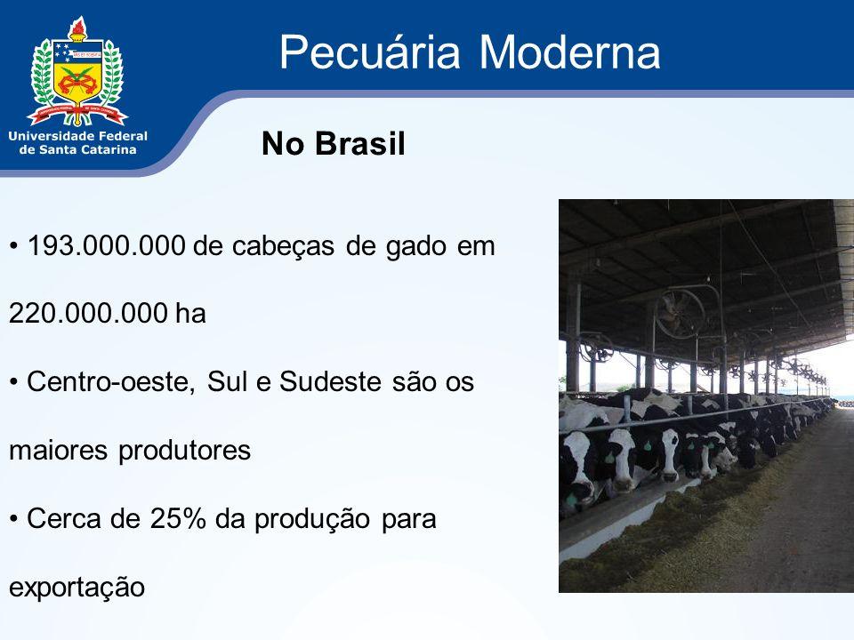Pecuária Moderna No Brasil 193.000.000 de cabeças de gado em 220.000.000 ha Centro-oeste, Sul e Sudeste são os maiores produtores Cerca de 25% da prod