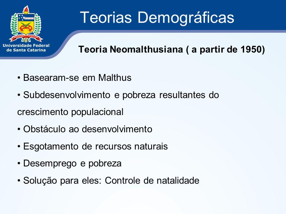 Teorias Demográficas Teoria Neomalthusiana ( a partir de 1950) Basearam-se em Malthus Subdesenvolvimento e pobreza resultantes do crescimento populaci