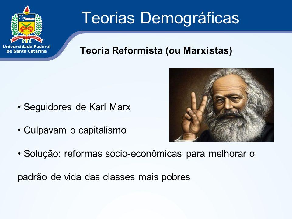 Teorias Demográficas Teoria Reformista (ou Marxistas) Seguidores de Karl Marx Culpavam o capitalismo Solução: reformas sócio-econômicas para melhorar