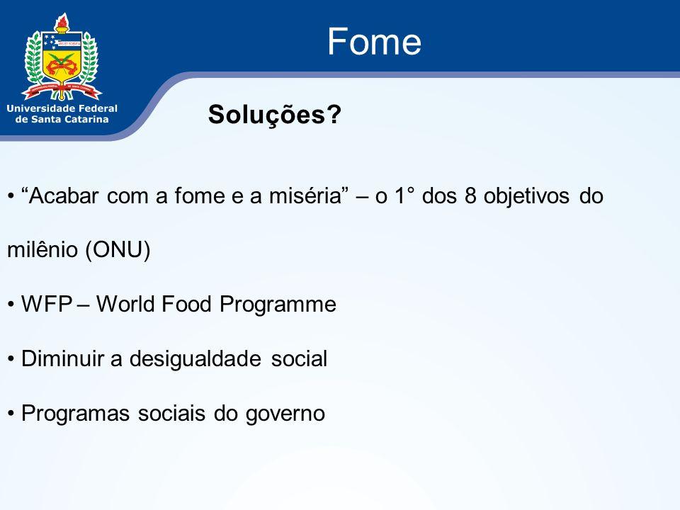 Fome Soluções? Acabar com a fome e a miséria – o 1° dos 8 objetivos do milênio (ONU) WFP – World Food Programme Diminuir a desigualdade social Program