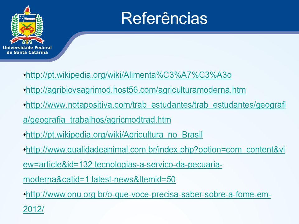 Referências http://pt.wikipedia.org/wiki/Alimenta%C3%A7%C3%A3o http://agribiovsagrimod.host56.com/agriculturamoderna.htm http://www.notapositiva.com/t