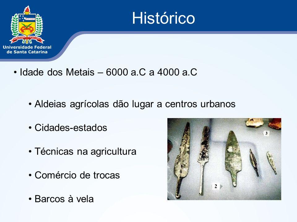 Histórico Idade dos Metais – 6000 a.C a 4000 a.C Aldeias agrícolas dão lugar a centros urbanos Cidades-estados Técnicas na agricultura Comércio de tro