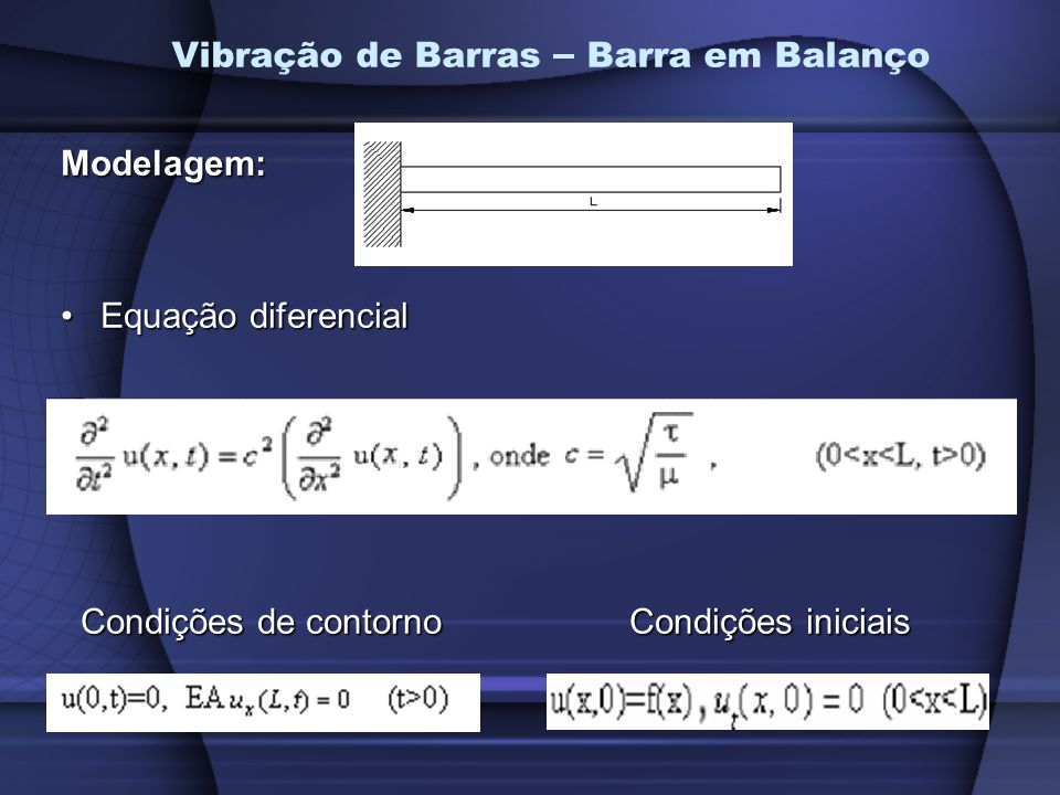 Vibração de Barras – Barra em BalançoModelagem: Equação diferencialEquação diferencial Condições de contorno Condições iniciais Condições de contorno Condições iniciais