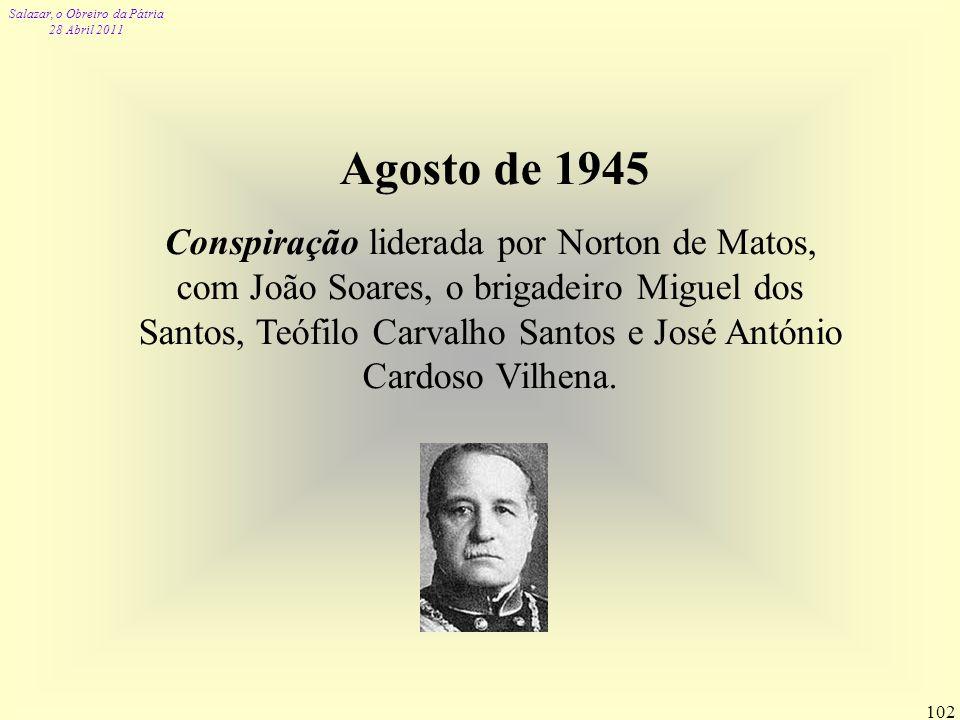Salazar, o Obreiro da Pátria 28 Abril 2011 102 Agosto de 1945 Conspiração liderada por Norton de Matos, com João Soares, o brigadeiro Miguel dos Santo
